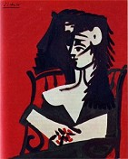»� Femme à la mantille sur fond rouge I, Vauvenargues. 20.04.1959, 81x65 cm. · © Copyright Werner Popken.  Alle Kunstwerke / all artwork © CC BY-SA