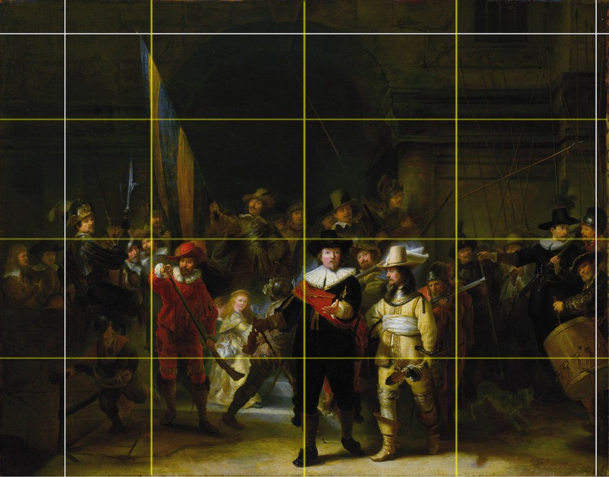 Gerrit Lundens: » Die Nachtwache nach Rembrandt, National Gallery, London, nach 1642. 67x85cm · © Copyright Werner Popken.  Alle Kunstwerke / all artwork © CC BY-SA