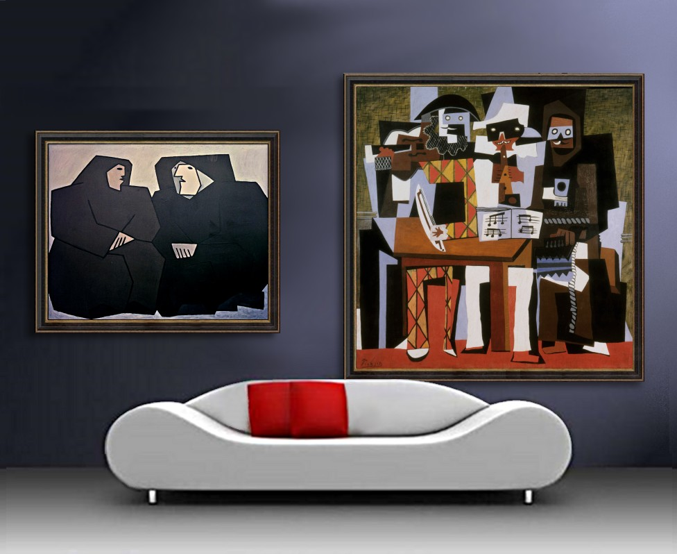 No. 9 » 200 126x153cm, 08.10.1974 »Musiciens aux masques    204,5x188,3cm · © Copyright Werner Popken.  Alle Kunstwerke / all artwork © CC BY-SA