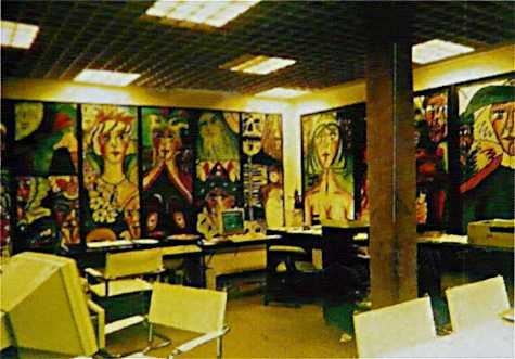 My office 1987 with state 3 and my first triptych No. 572-574  Former Volksbank, neon on the ceiling, carpet on the column,  monitor green/black, swinger chair, kneeling chair, Oki Laser Printer · © Copyright Werner Popken. Alle Kunstwerke / all artwork © CC BY-SA